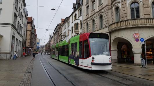 Blick in die Bahnhofstraße in Erfurt