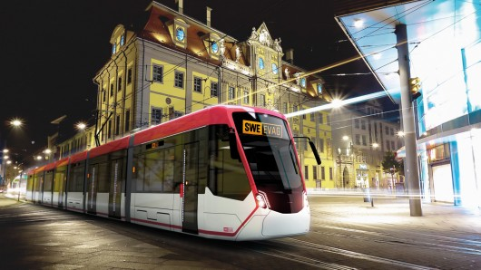 Design-Vorstellung des Straßenbahntyps Tramlink aus dem Hause Stadler. Die Landeshauptstadt Erfurt hat 14 dieser Fahrzeuge beauftragt, die ab Ende 2020 über die Schienen rollen sollen.
