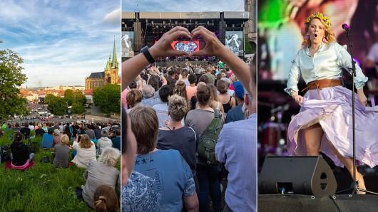 Die Kelly Family hat am Freitag (31.05.2019) auf dem Domplatz in Erfurt Tausende Menschen begeistert.