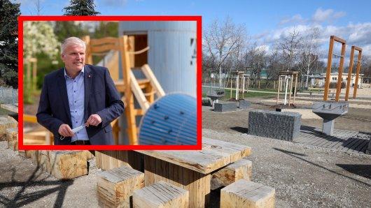 Oberbürgermeister Andreas Bausewein eröffnete einen neuen Platz in der Gera-Aue in Erfurt.
