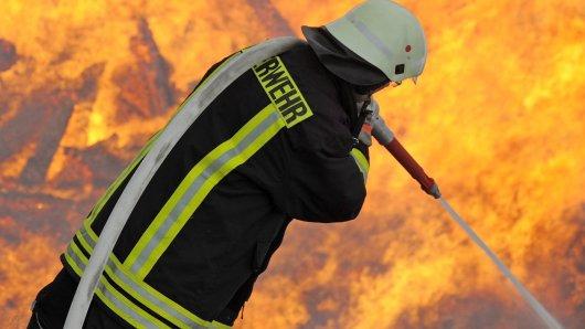 In Gotha stand eine Firma in Flammen.