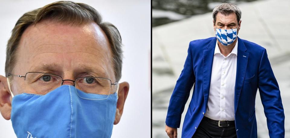Werden in der Coronakrise wohl keine Freunde mehr: Bodo Ramelow (Linke) und Markus Söder (CSU).