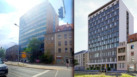 In nur anderthalb Jahren sollen aus der Ruine des ehemaligen TA-Hochhauses am Juri-Gagarin-Ring 121 Wohnungen entstehen. (Montage: Anna Jank, CG Gruppe)