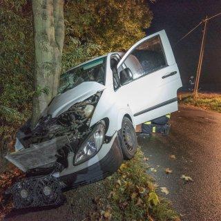 Durch die Wucht des Aufpralls hat sich der Baum regelrecht in die Motorhaube eingeschnitten. Der Fahrer musste ins Krankenhaus gebracht werden.