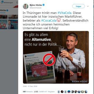 AfD-Mann Björn Höcke wollte sich mit der regionalen Brause Vita Cola solidarisieren, wird aber eiskalt abserviert.