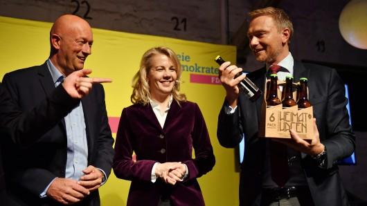 Wahlkampfabschluss der FDP: Partei-Chef Christian Lindner, Generalsekretärin Linda Teutenberg und Thüringens FDP-Spitzenkandidat Thomas Kemmerich.