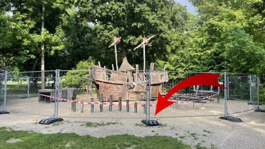 Der Paradies-Spielplatz in Jena ist aktuell abgesperrt. Unbekannte haben hier ihr Unwesen getrieben.