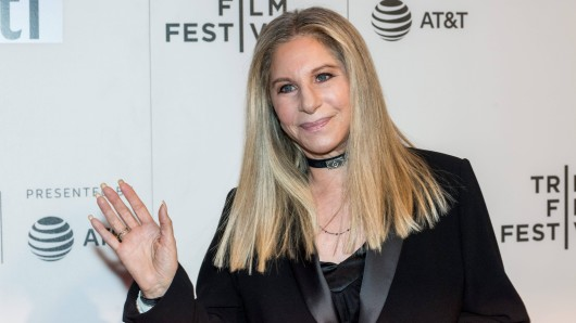 Barbra Streisand with Robert Rodriguez during the 2017 Tribeca Film Festival in New York.