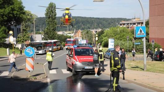 In Gera wurde eine Frau bei einem Unfall schwer verletzt.
