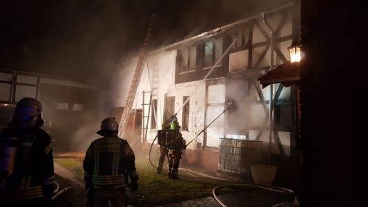 In Nordhausen in Thüringen brannte am Samstagmorgen ein leerstehendes Gebäude.
