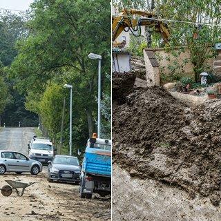 Eine Schlammlawine hat sich durch Tiefurt, einen Ortsteil von Weimar, gewälzt. Das Erdreich hatte sich am Freitagabend (17.08.2018) gelöst, als ein schweres Unwetter über die Region zog.
